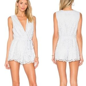 Lovers + Friends Miami Pacific Blue Lace Romper